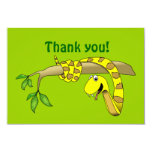 Cute Cartoon Yellow Snake in a Tree Reptile 3.5x5 Paper Invitation Card