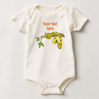 Cute Cartoon Yellow Snake in a Tree Reptile Baby Bodysuit