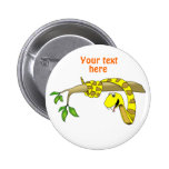 Cute Cartoon Yellow Snake in a Tree Reptile Pinback Button