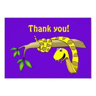 Cute Cartoon Yellow Snake in a Tree Reptile Card