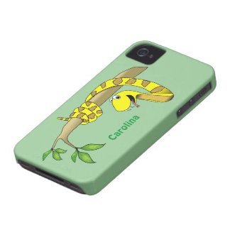 Cute Cartoon Yellow Snake in a Tree Reptile Custom Case-Mate iPhone 4 Cases