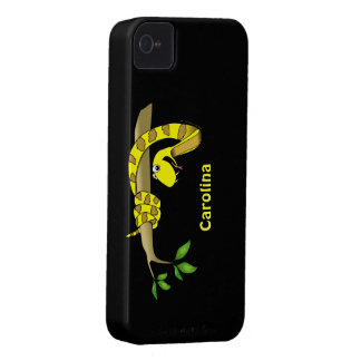 Cute Cartoon Yellow Snake in a Tree Reptile Custom iPhone 4 Case-Mate Cases