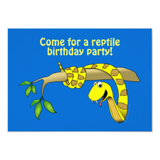 "Cute Cartoon Yellow Snake in a Tree Reptile 5"" X 7"" Invitation Card"