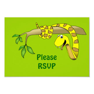 "Cute Cartoon Yellow Snake in a Tree Reptile 3.5"" X 5"" Invitation Card"