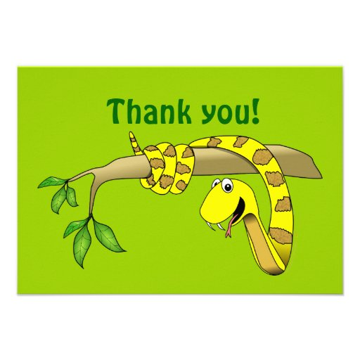 Cute Cartoon Yellow Snake in a Tree Reptile Invite