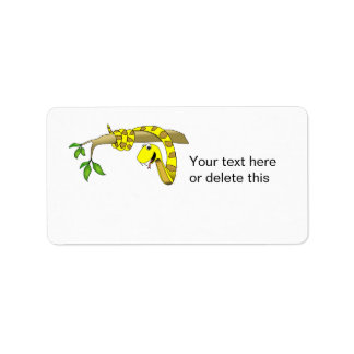 Cute Cartoon Yellow Snake in a Tree Reptile Label