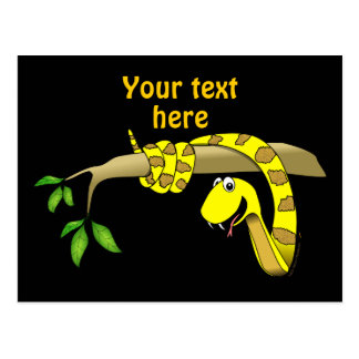 Cute Cartoon Yellow Snake in a Tree Reptile Postcard