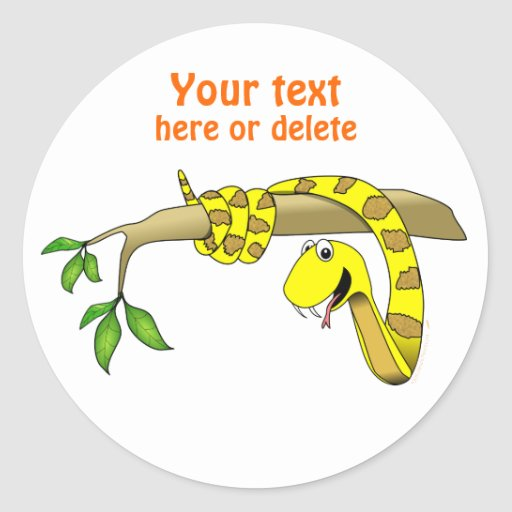 Cute Cartoon Yellow Snake in a Tree Reptile Round Stickers