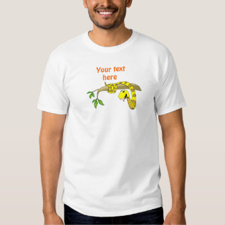 Cute Cartoon Yellow Snake in a Tree Reptile T-Shirt