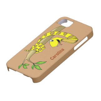 Cute Cartoon Yellow Snake in Tree Reptile iphone 5 iPhone SE/5/5s Case