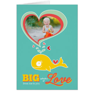 Cute Cartoon Yellow Whale Kid Valentine Photo Card
