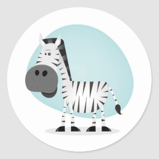 Cute Cartoon Zebra Classic Round Sticker