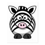 Cute Cartoon Zebra Post Cards