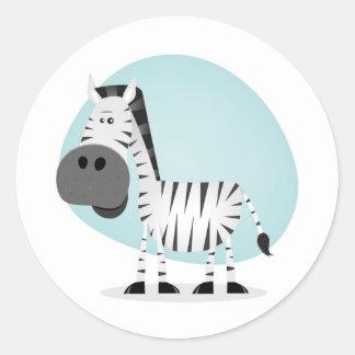 Cute Cartoon Zebra Classic Round Sticker