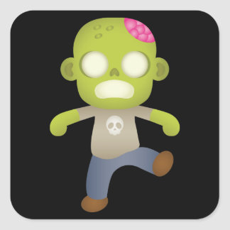 Cute Cartoon Zombie Boy Square Sticker