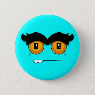 Cute Cartoony Aqua Unibrow Monster Face Button