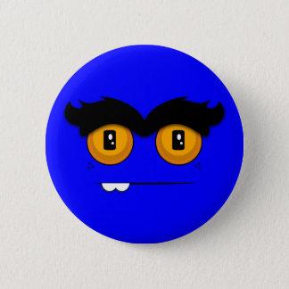 Cute Cartoony Blue Unibrow Monster Face Button