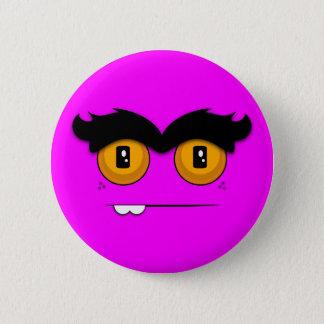 Cute Cartoony Fuchsia Unibrow Monster Face Pinback Button