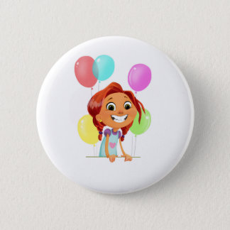 Cute cartoony girl with balloons smiling pinback button