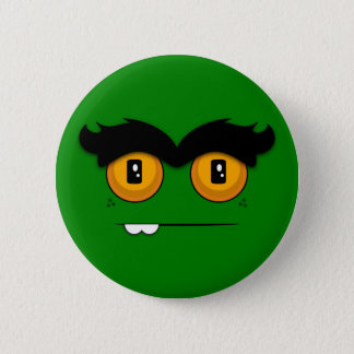 Cute Cartoony Green Unibrow Monster Face Pinback Button