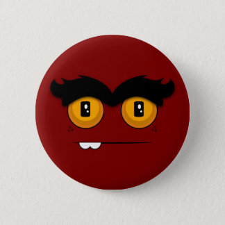 Cute Cartoony Maroon Unibrow Monster Face Pinback Button