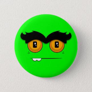 Cute Cartoony Neon Green Unibrow Monster Face Button