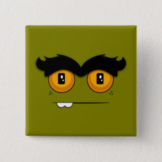 Cute Cartoony Olive Green Unibrow Monster Face Pinback Button