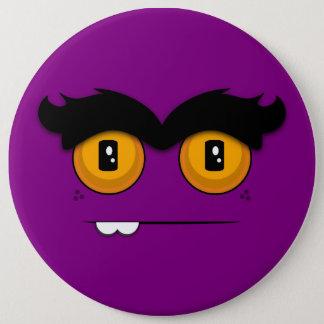 Cute Cartoony Purple Unibrow Monster Face Pinback Button