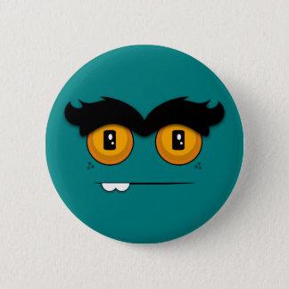 Cute Cartoony Teal Unibrow Monster Face Button