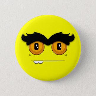 Cute Cartoony Yellow Unibrow Monster Face Pinback Button