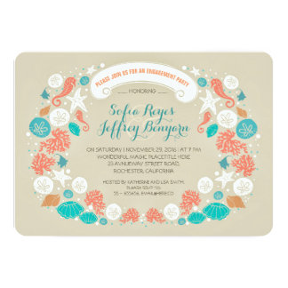 "Cute casual beach engagement party invitations 5"" x 7"" invitation card"