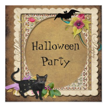 Sarah_Designs Cute Cat and Bat Vintage Halloween Party Card