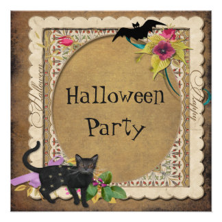 Cute Cat and Bat Vintage Halloween Party Custom Announcement