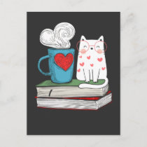 Cute Cat and Coffee Book Lover Literature Reading Postcard