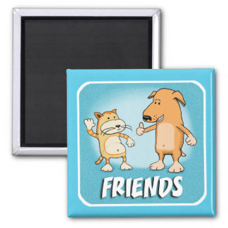 Cute Cat and Dog Friends 2 Inch Square Magnet
