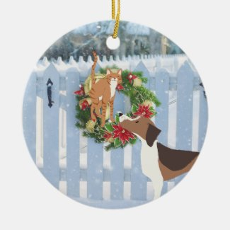 Cute Cat and Dog Snowy Winter Holiday Christmas Ceramic Ornament