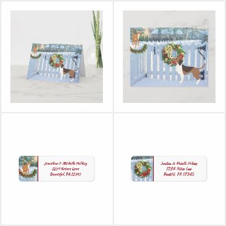 Cute Cat and Dog Winter Holiday Christmas Set