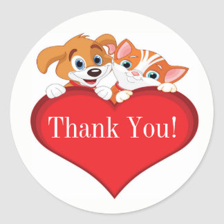 Cute Cat and Dog with Heart Thank You Classic Round Sticker