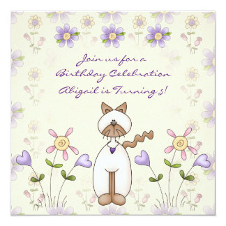 Cute Cat and Flowers Birthday Invitation for Girls