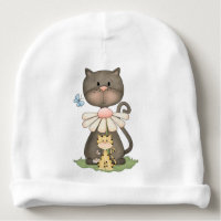 Cute Cat and Kitten Country Prims Beige Daisy Pink Baby Beanie