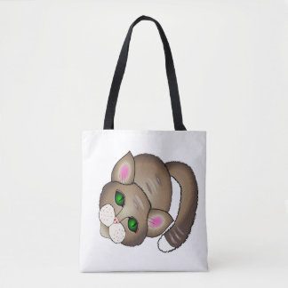 cute cat and lovely puppy tote bag
