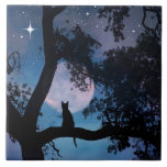 """Cute Cat and Moon Art Tile<br><div class=""""desc"""">A cute cat,  making a wish on a star,  this is a darling art tile. Makes a great gift,  framed or in a gift box too!  Surprise the cat lover in your life.</div>"""