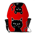 Cute Cat and Mouse Red and Black Commuter Bags