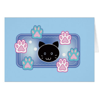 Cute cat and paw pads (blue) card