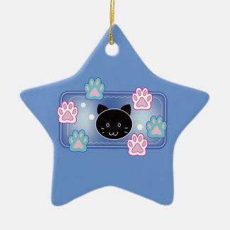 Cute cat and paw pads (blue) ceramic ornament