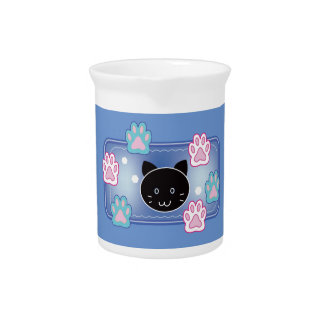 Cute cat and paw pads (blue) drink pitcher