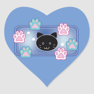 Cute cat and paw pads (blue) heart sticker
