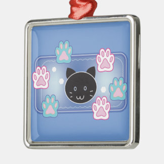 Cute cat and paw pads (blue) metal ornament