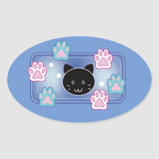 Cute cat and paw pads (blue) oval sticker