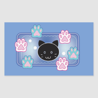 Cute cat and paw pads (blue) rectangular sticker
